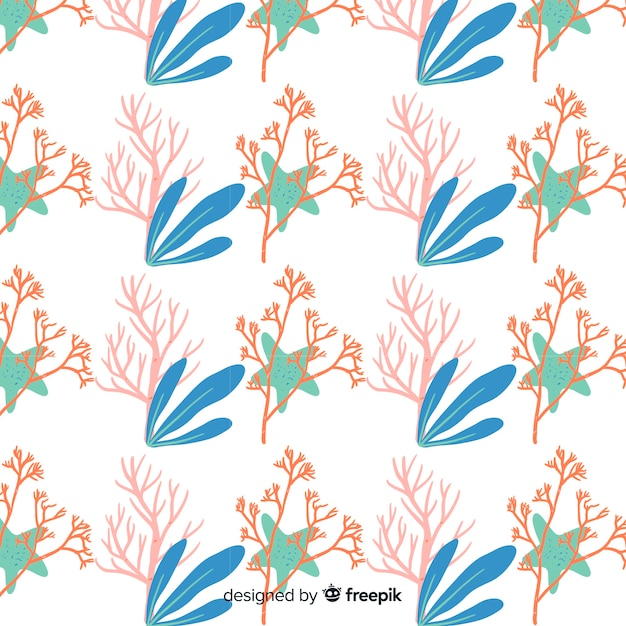 Hand drawn coral pattern Vector | Free Download