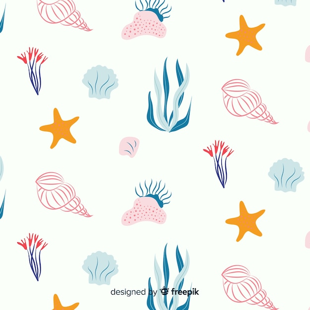 Hand drawn coral with sea animals background Vector | Free ...