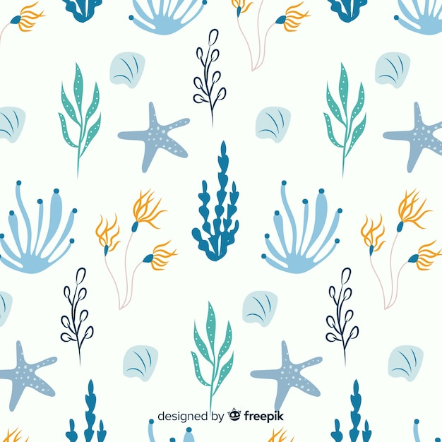 Hand drawn coral with sea animals background Free Vector