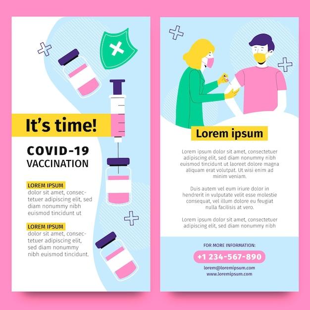 Brochure informativa sulla vaccinazione contro il coronavirus disegnata a mano Vettore gratuito