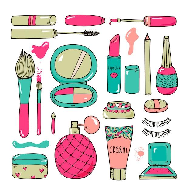 手描きの化粧品は、ツールのイラストを構成しますカラフルな漫画スタイルの分離 Premiumベクター