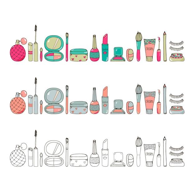 手描き化粧品は、バナーのウェブサイトの背景にツールイラスト水平イラスト使用を構成します Premiumベクター