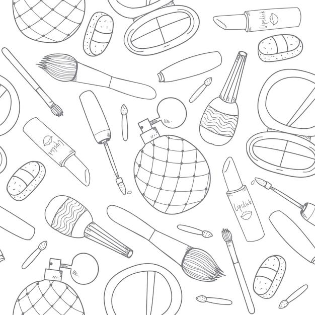 手描きの化粧品はツールを構成しますアウトラインシームレスパターン Premiumベクター