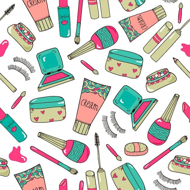 手描きの化粧品はツールを構成しますシームレスなパターン Premiumベクター