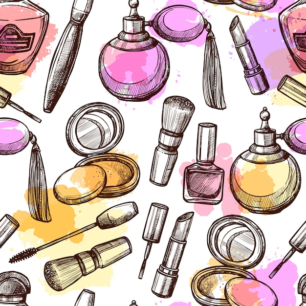 Hand drawn cosmetics seamless pattern Free Vector