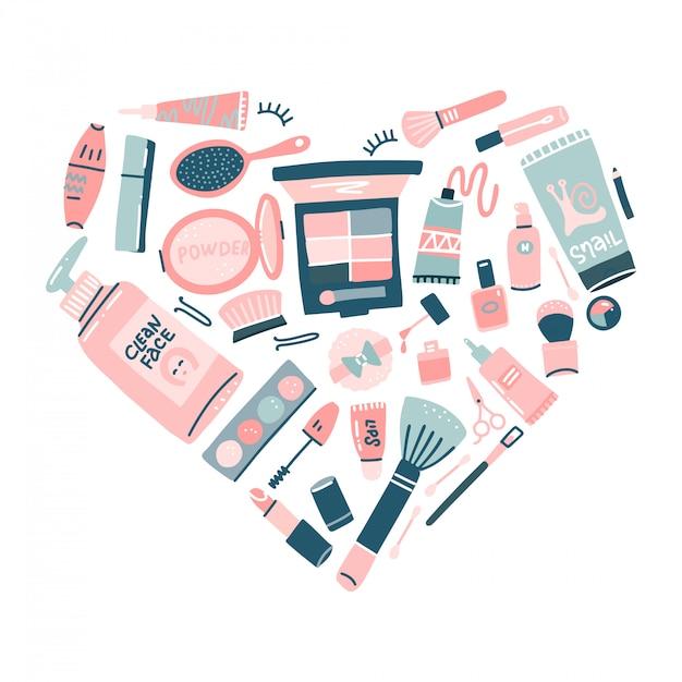 手描きの化粧品セット。ハートのプロのメイクアイテム。 webデザインまたは印刷のトレンディなフラットスタイルの装飾的な図。 Premiumベクター