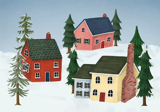 Hand-drawn countryside village covered in winter snow Free Vector