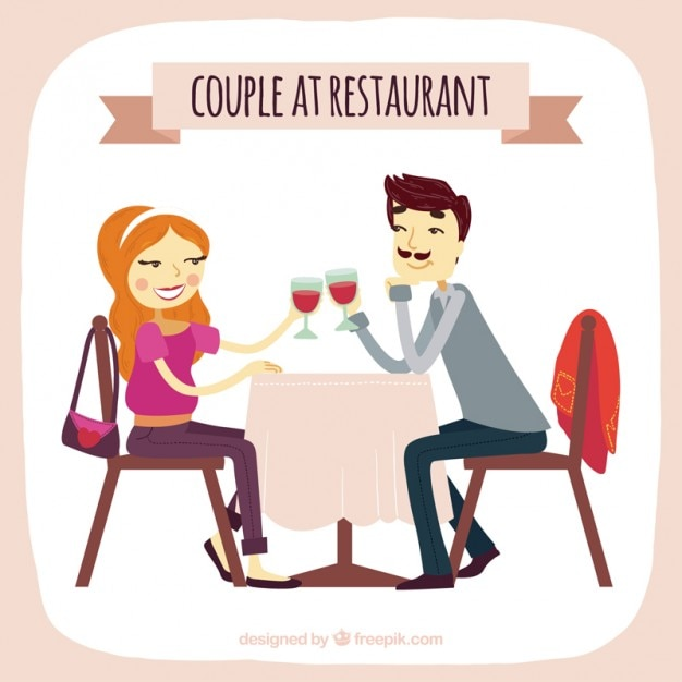 Hand drawn couple at restaurant
