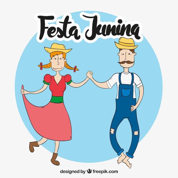 Hand drawn couple dancing festa junina\ background