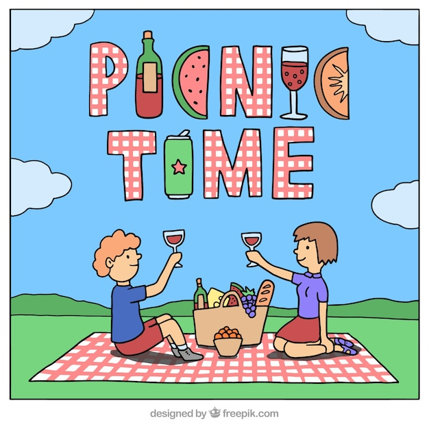 Hand drawn couple in a picnic background