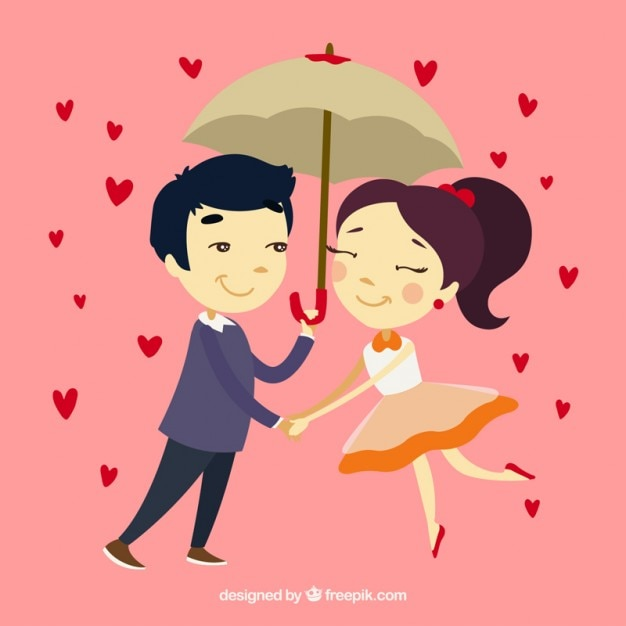 Lovely Couples In Love: Hand Drawn Couple In Love With Umbrella Vector