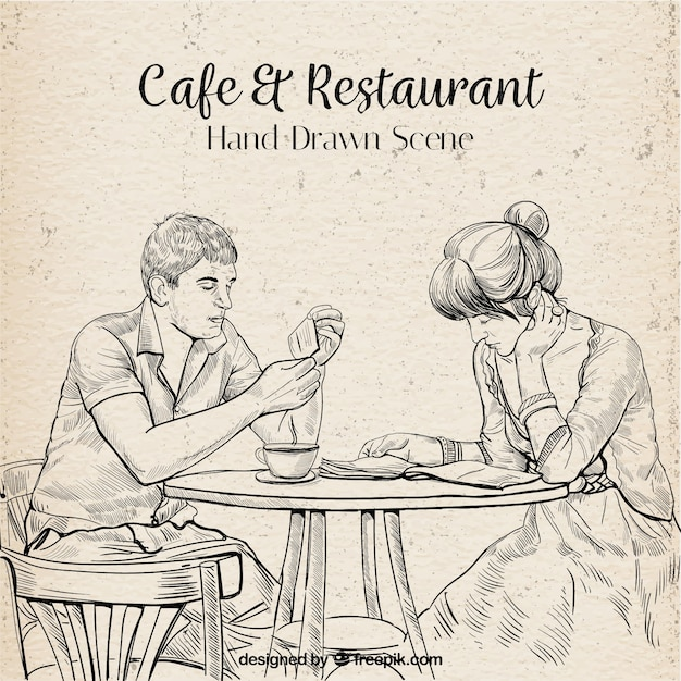 Hand drawn couple reading in a coffee shop