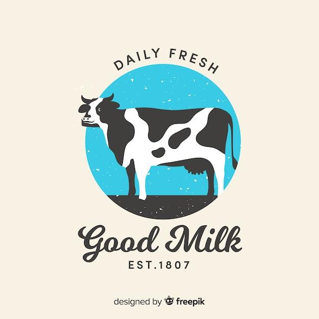 手描き牛乳のロゴ Premiumベクター