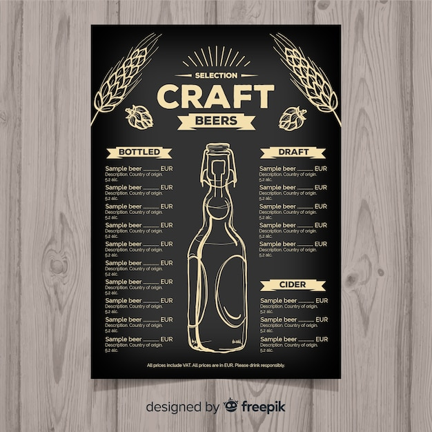 Hand Drawn Craft Beer Menu Template Vector Free Download
