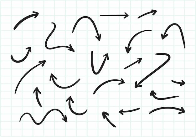 Ручной обращается креативный дизайн стрелы Бесплатные векторы