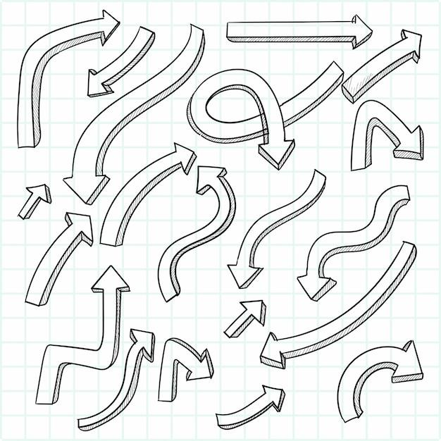 손으로 그린 창조적 인 화살표 세트 디자인 무료 벡터