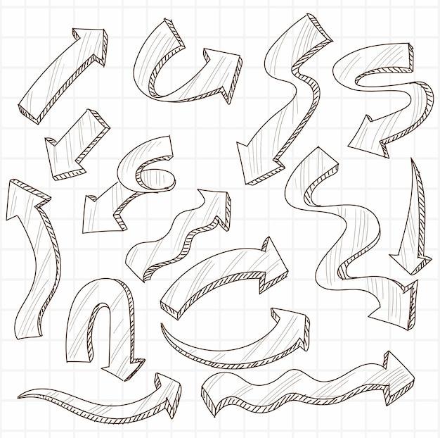 Набор рисованной творческой стрелки Бесплатные векторы