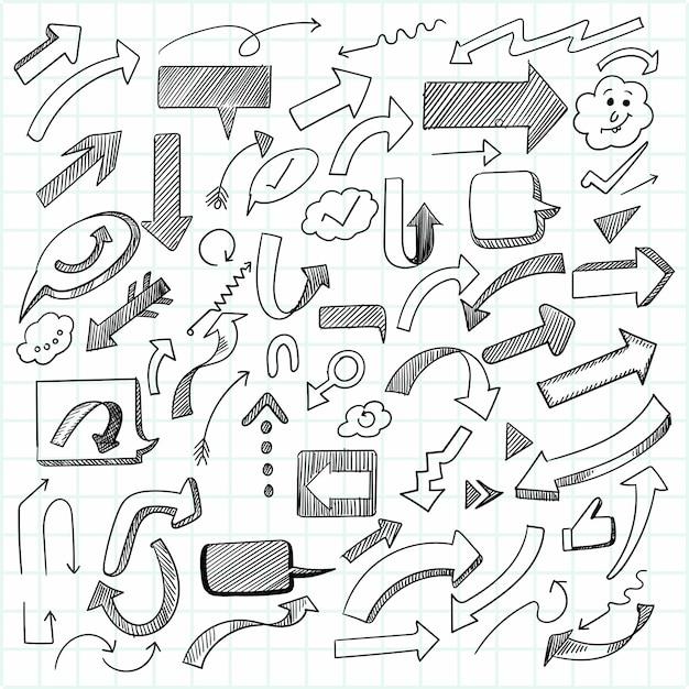 手描きの創造的な幾何学的な矢印セットのデザイン 無料ベクター