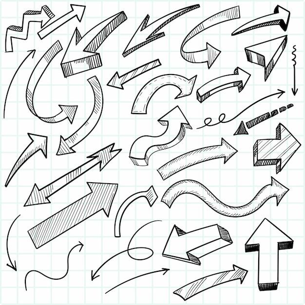 Freccia geometrica creativa disegnata a mano scenografia Vettore gratuito