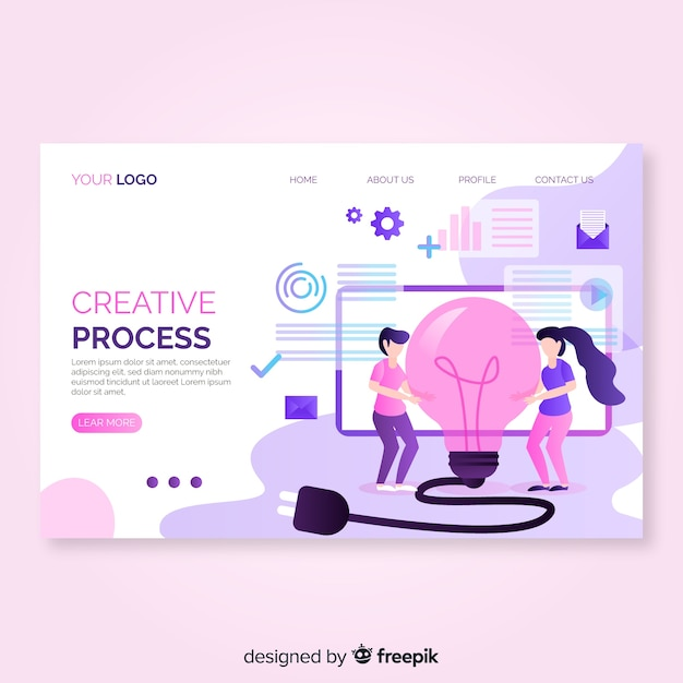 Hand drawn creative process landing page Free Vector