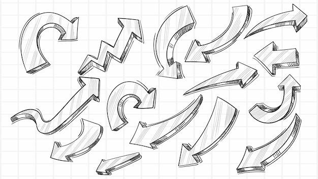 손으로 그린 창조적 인 스케치 화살표 세트 디자인 무료 벡터