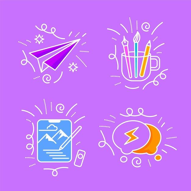 Insieme di scarabocchi di creatività disegnati a mano Vettore gratuito