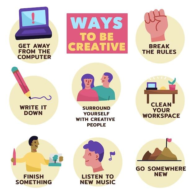 Infografica creatività disegnata a mano Vettore gratuito