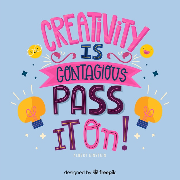 Hand drawn creativity quotation lettering background Free Vector