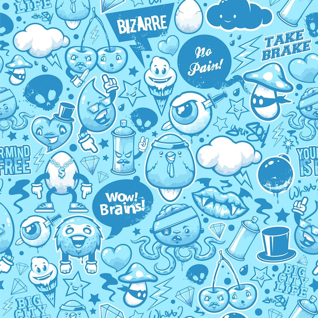 Hand drawn creatures in graffiti style Free Vector