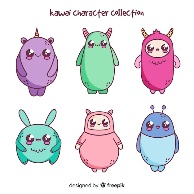 Hand drawn creatures kawaii pack Free Vector