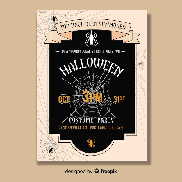 Hand drawn creepy halloween party poster Free Vector