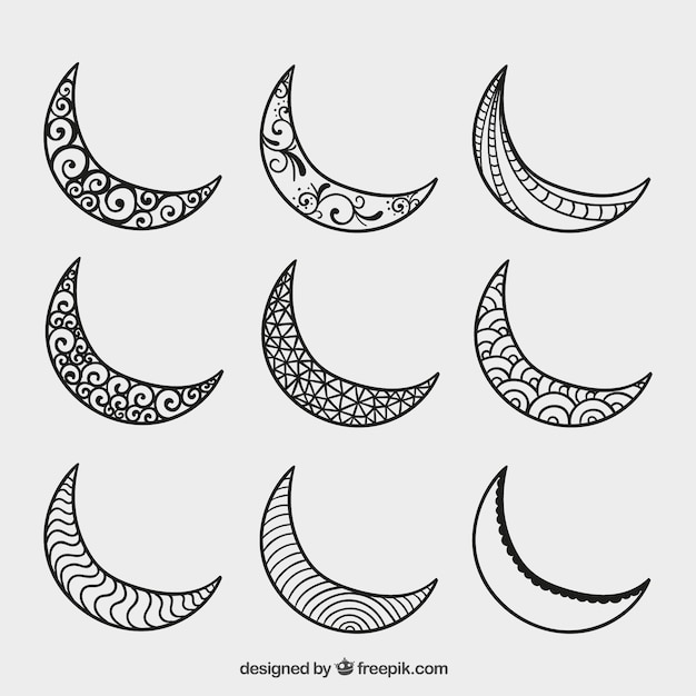 Hand drawn crescent moons Free Vector