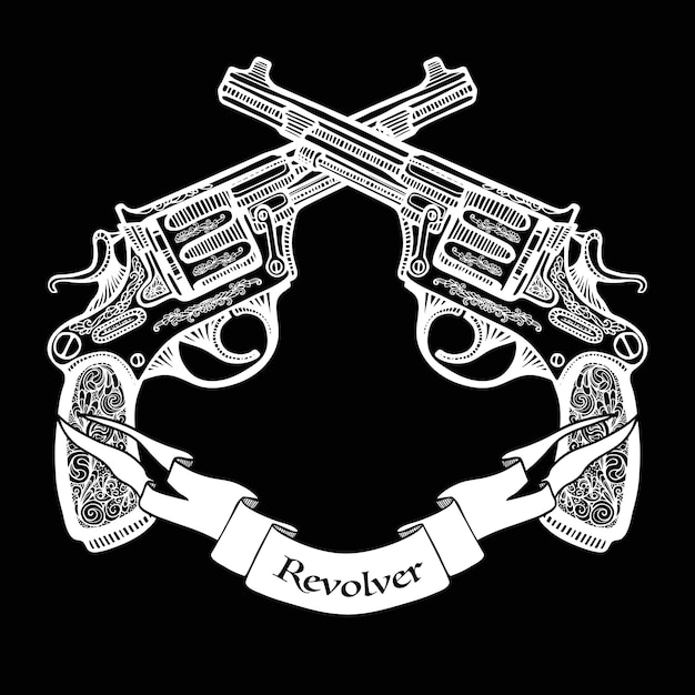 Hand drawn crossed pistols with ribbon Free Vector