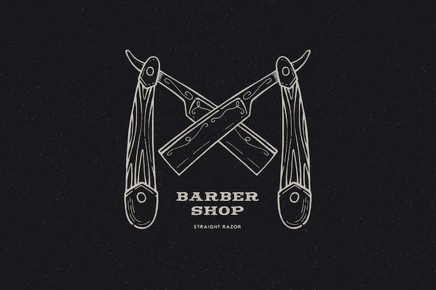 手描き交差かみそり。ヴィンテージラベル、理髪店をテーマに手描きのひげをそる。 Premiumベクター