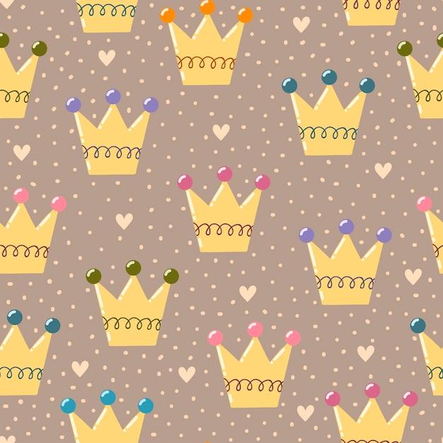 Hand drawn crowns seamless pattern. Premium Vector