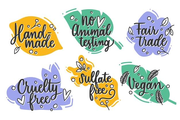Pacchetto di badge cruelty free disegnati a mano Vettore gratuito