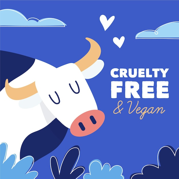 Hand drawn cruelty free and vegan concept with cow Free Vector