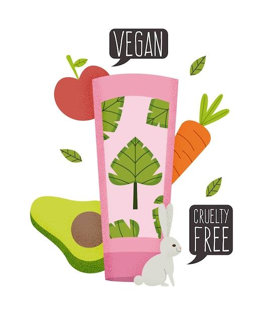 Concetto cruelty free e vegano disegnato a mano Vettore gratuito