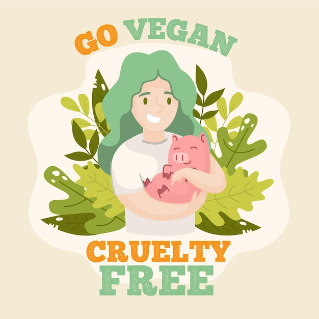 Illustrazione cruelty free e vegana disegnata a mano Vettore gratuito