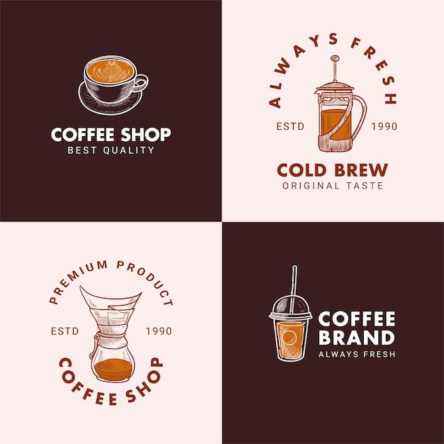 手描きカップ、フレンチプレス、chemex、ドリッパー、テイクアウトカップのロゴイラスト Premiumベクター