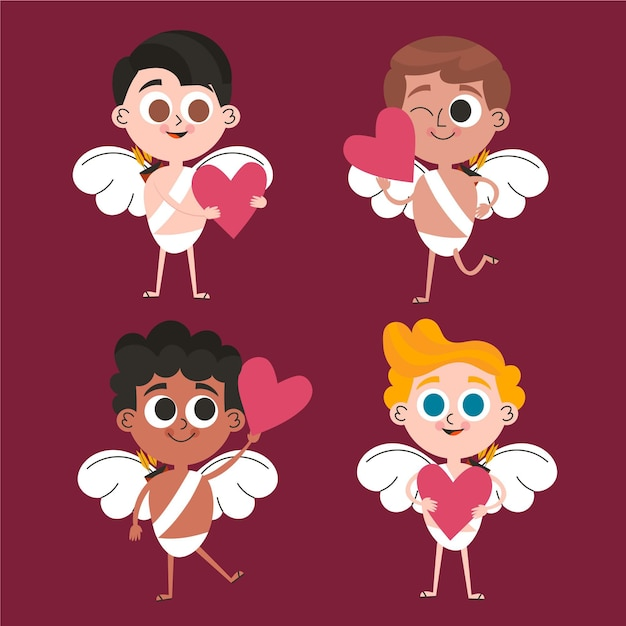 Hand drawn cupid character collection Free Vector