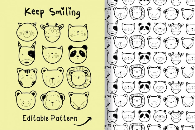 Hand drawn a cute animal with editable pattern Premium Vector