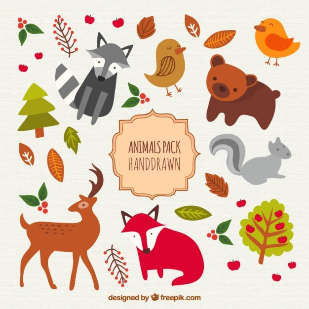 Hand drawn cute animals pack Free Vector
