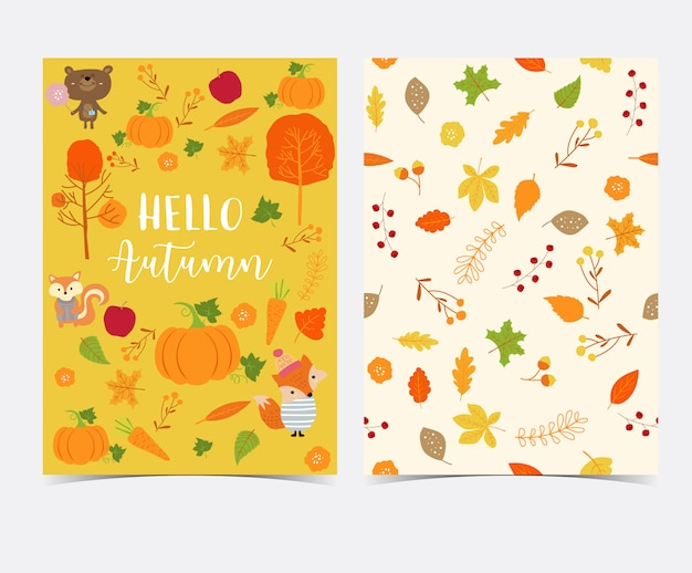 Hand drawn cute autumn card and seamless pattern with flower, leaf, fox, red house, apple, pumpkin and squirrel Premium Vector