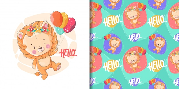 손으로 그린 풍선 및 패턴 귀여운 아기 사자 프리미엄 벡터