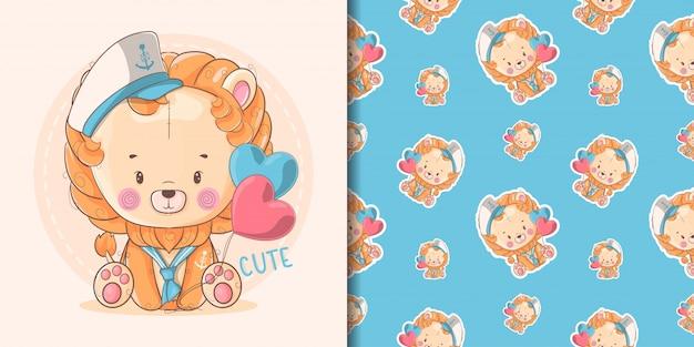 手描きかわいい赤ちゃんライオンセーラーカスタムとパターン Premiumベクター