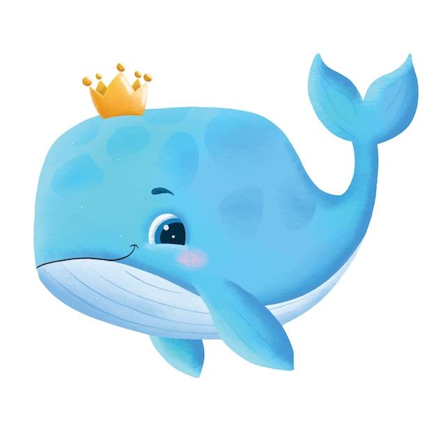 Нарисованная рукой иллюстрация милого детеныша кита Premium векторы
