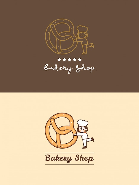 Hand drawn cute bakery shop pretzel with little chef and five stars logo template set Premium Vector