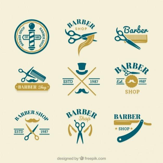 Hand drawn cute barber logos Free Vector