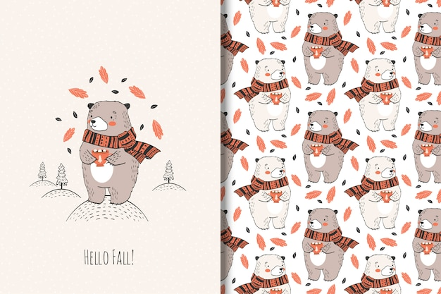 Hand drawn cute bear with cup. autumn animal illustration. Premium Vector